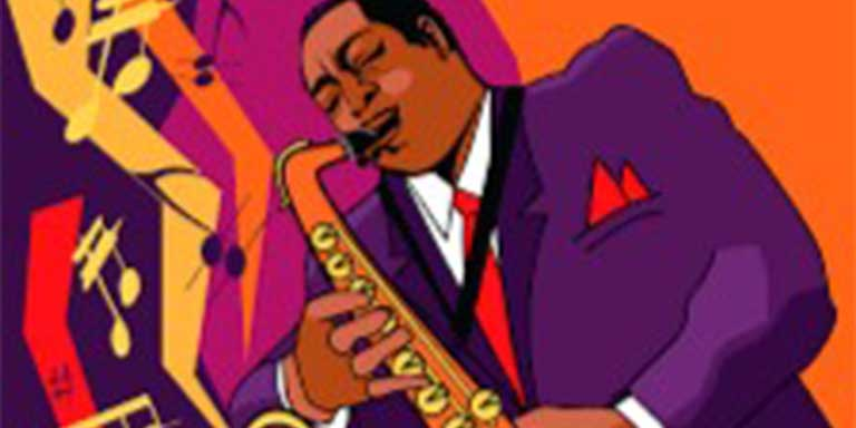 illustration of a brown man playing the saxophone