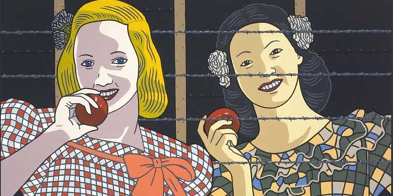 illustration of a barbed wire fence between Caucasian woman with an apple and a Hispanic woman with an apple